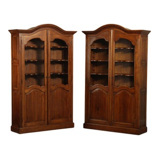 French Country Style Custom Quality Large Pair Bookcases Cabinets For Sale