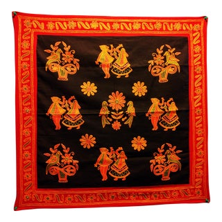Ethnic Indian Embroidered Tapestry For Sale