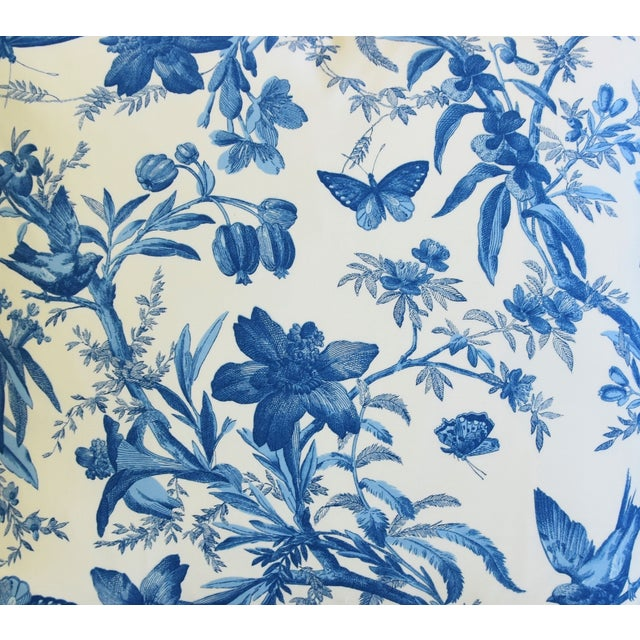 """Abstract Blue & White P. Kaufmann Aviary Bird Toile Feather/Down Pillow 24"""" Square For Sale - Image 3 of 6"""