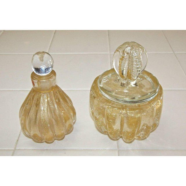 Murano Gold Controlled Bubbles Perfume Bottle & Lidded Powder Jar For Sale - Image 10 of 10