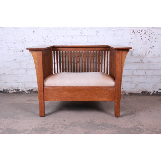 Brown Stickley Mission Prairie Armchair With Tan Leather Upholstery For Sale - Image 8 of 13