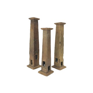 Mid-Century Boho Chic Architectural Element Candleholders - Set of 3