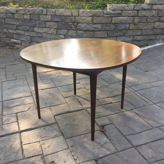 Walnut Mid Century Modern Dining Table With Two Leafs - Image 3 of 11