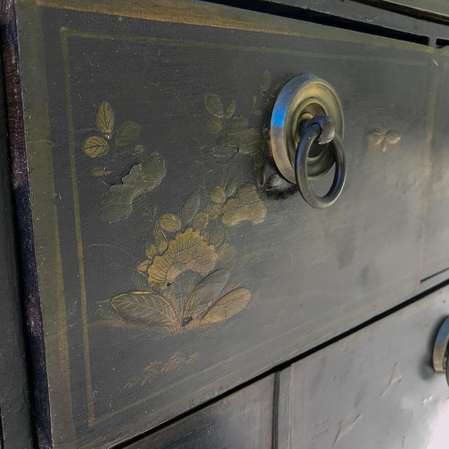 19th Century Ebonized & Hand-Painted Chinoiserie Raised Cabinet For Sale - Image 9 of 12