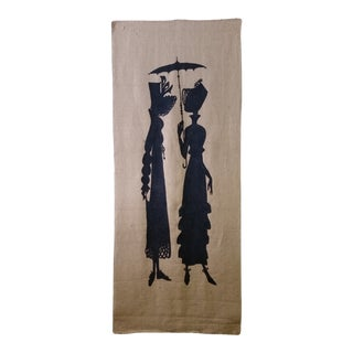 Screen Print Silhouettes on Burlap Panel