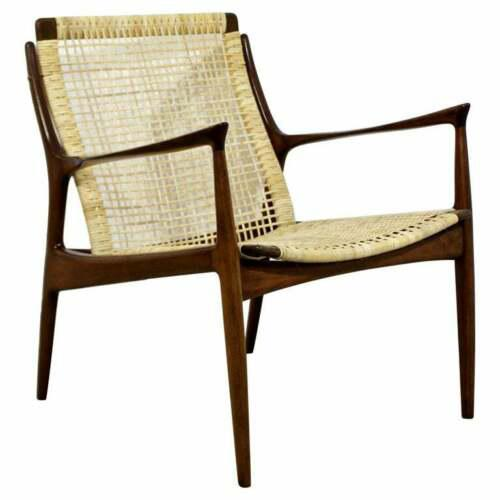 Mid Century Modern Danish Kofod Larsen Cane Lounge Armchair 1960s For Sale - Image 10 of 10