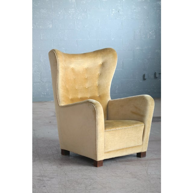Fritz Hansen Model 1672 Highback Mohair Lounge Chair Danish Midcentury 1940's For Sale In New York - Image 6 of 14