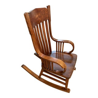1900s Vintage Mission Style Rocking Chair For Sale