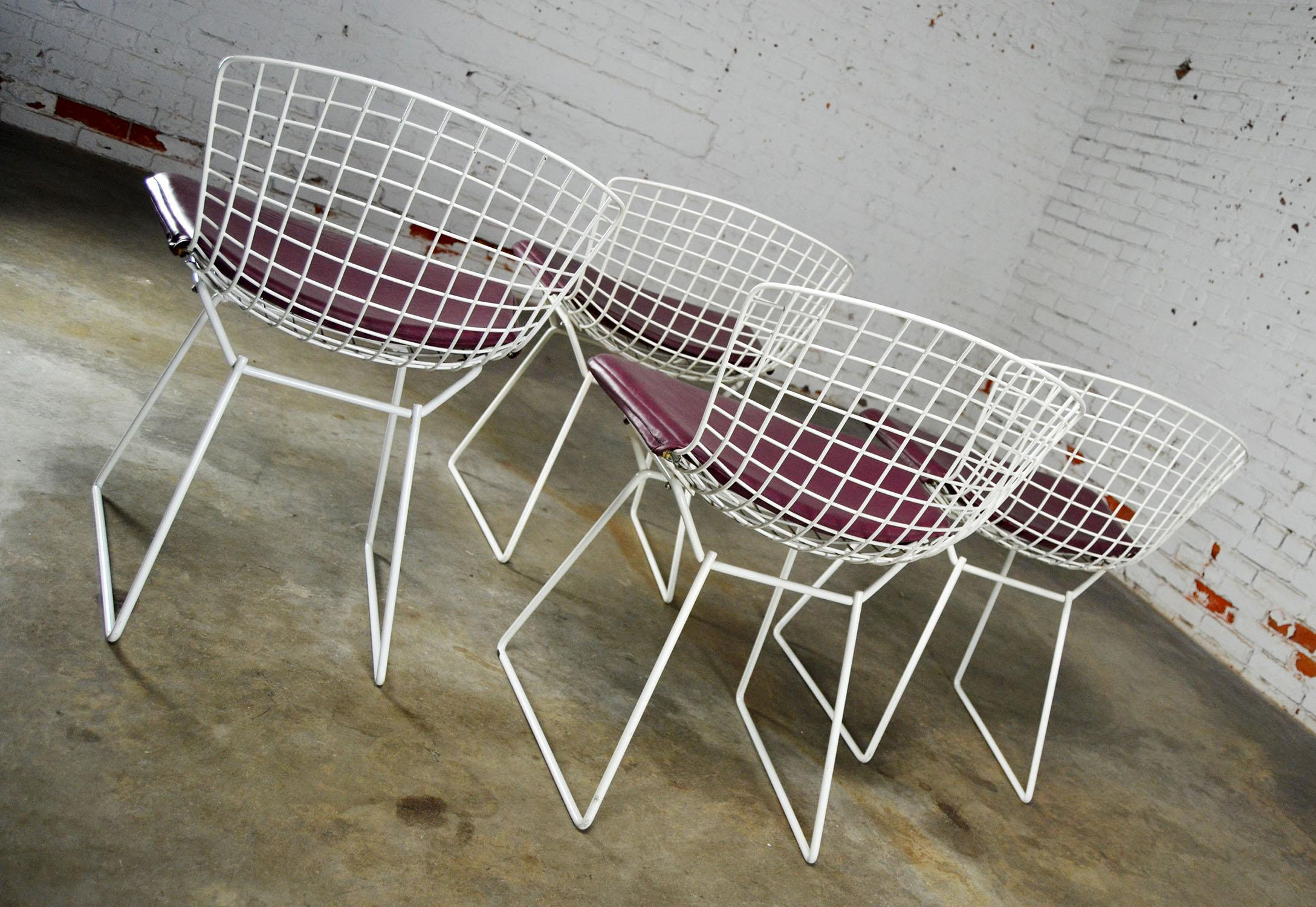 Vintage Mid Century Modern Bertoia White Wire Side Chairs   Image 4 Of 11