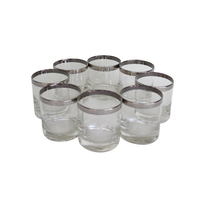 Dorothy Thorpe Silver Rim Rock Glasses – Set of 8 - Image 1 of 7