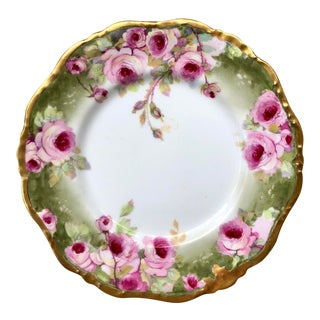 French Limoges Gilt Hand-Painted Porcelain Cake Plate With Pink Roses For Sale