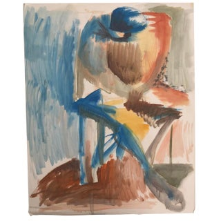 Seated Figure Painting by Robert Colborne 1950s For Sale