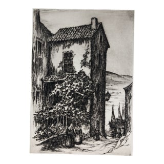 European Architectural Drypoint Etching 1930s For Sale