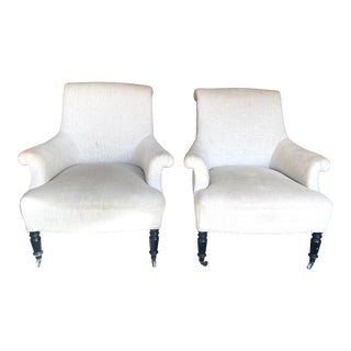 Early 20th Century English Linen Upholstered Rolled Armchairs - a Pair