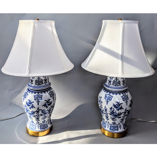 Early 21st Century Blue and White Ceramic Lamp For Sale - Image 5 of 13