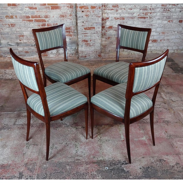 Art Deco Vintage Italian Art Deco Mahogany Dining Chairs - Set of 6 For Sale - Image 3 of 10