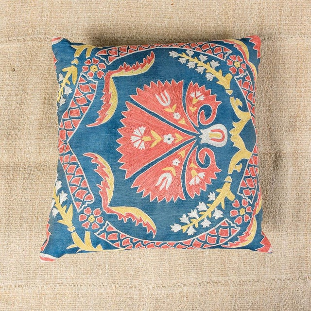 Mid 20th Century Vintage Designer Embroidered Blue Sofa Pillow For Sale - Image 5 of 5