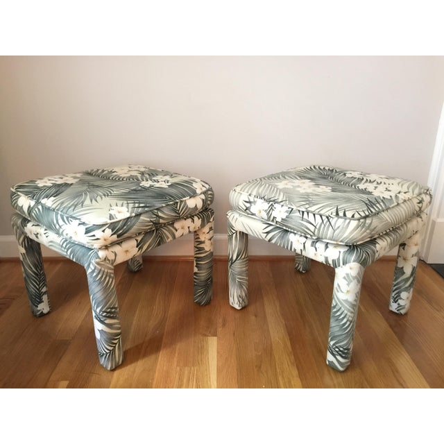 Hollywood Regency Parsons Stools With Palm Leaf Fabric - A Pair For Sale - Image 3 of 11
