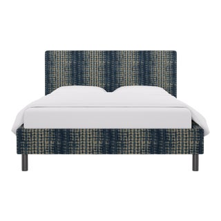 Queen Tailored Platform Bed in Shibori For Sale