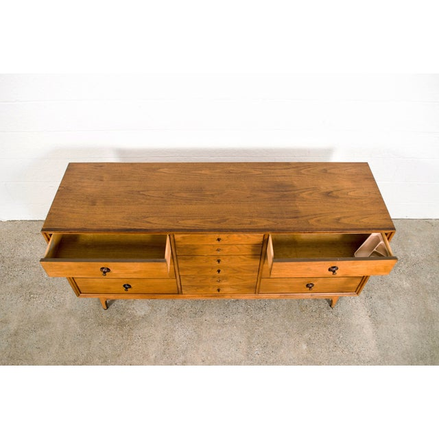 Rosewood Mid Century Walnut & Rosewood Lowboy Dresser For Sale - Image 7 of 11
