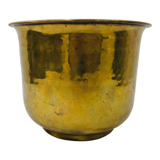 Vintage Hammered Brass Cache Pot Planter For Sale