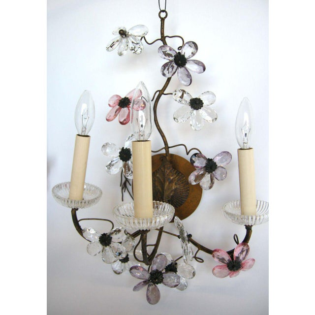 Pair of 1930' French sconces with Czech glass drop flowers. Flowers are in beautiful shades of in amethyst, pink and...