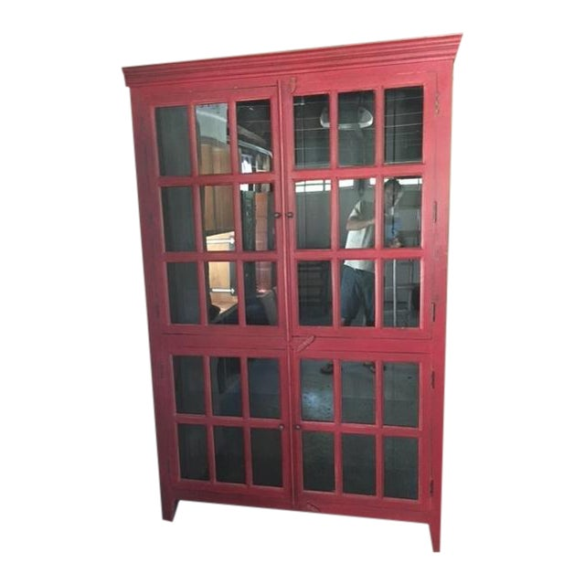 Wooden Red China Cabinet - Image 1 of 5