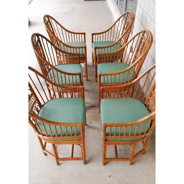 Hollywood Regency Brighton Bamboo Chair- Set of 6 - Image 3 of 9