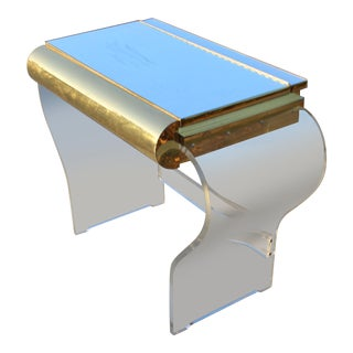 Mid C. Modern Gold and Lucite Vanity Possibly by Karl Springer