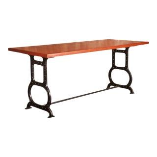 Industrial Cast-Iron and Mahogany Table For Sale