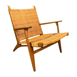 """Vintage Danish Mid Century Modern """"Ch27"""" Chair in Oak and Cane by Hans Wegner for Carl Hansen For Sale"""