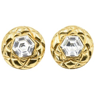 Chanel Quilted Gold Crystal Clip Earrings For Sale