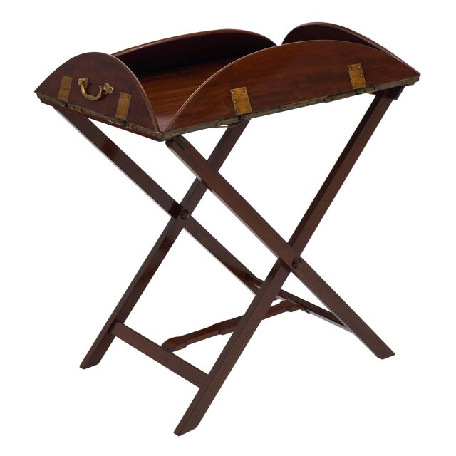 English Campaign Style Mahogany Tray Table For Sale