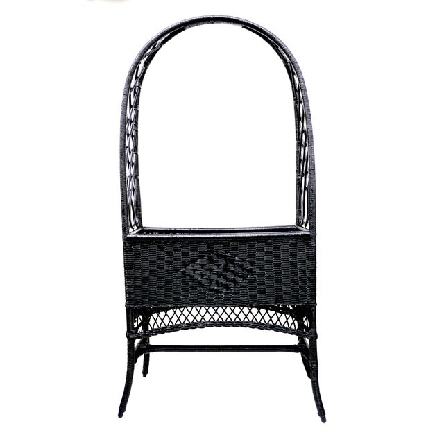 Black Lacquered Wicker Plant Stand Arched Trellis Fernery Box For Sale - Image 11 of 11