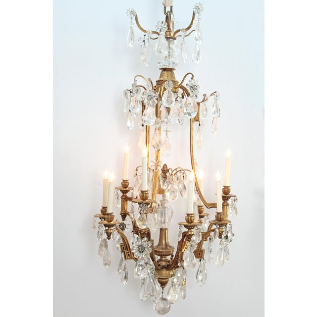 Louis XV Style Chandelier with Rock Crystals from Nesle Inc. New York For Sale - Image 10 of 10