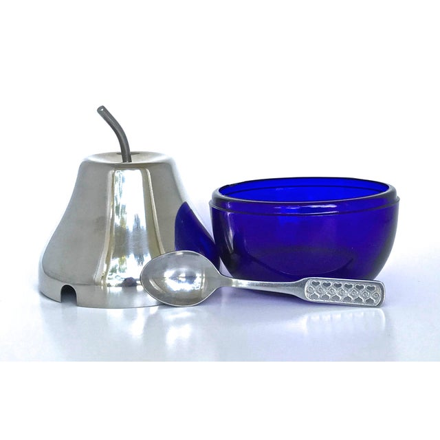 Cobalt & Chrome Jelly Pot & Spoon For Sale - Image 4 of 10