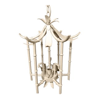 Hollywood Regency Chinoiserie Petite White Metal Pagoda Pendant For Sale