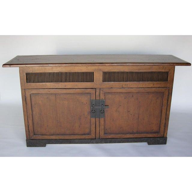 Asian Custom Walnut Wood Media Console on Iron Base For Sale - Image 3 of 9