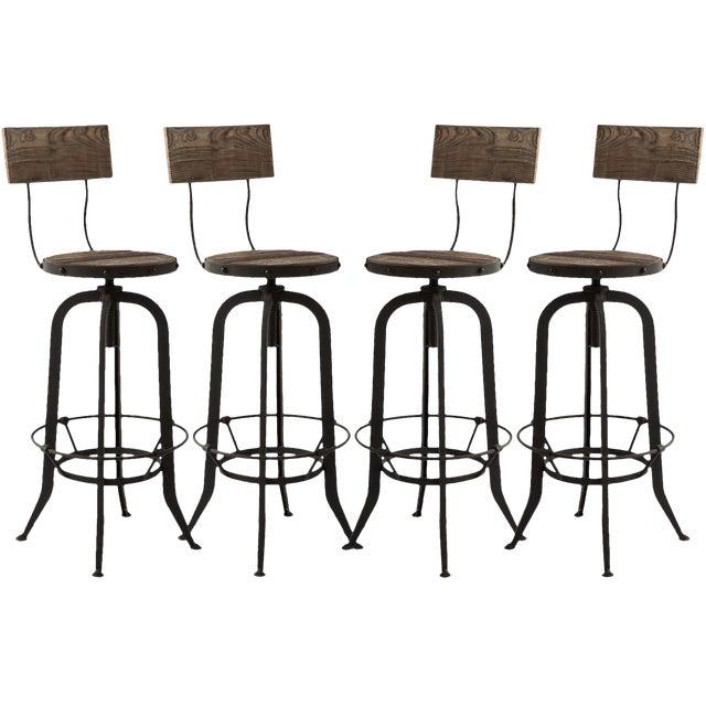 Alvar Industrial Loft Reclaimed Oak Iron Adjustable Bar Stools - Set of 4 For Sale