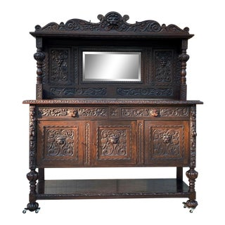 18th Century Antique English Carved Oak Sideboard For Sale