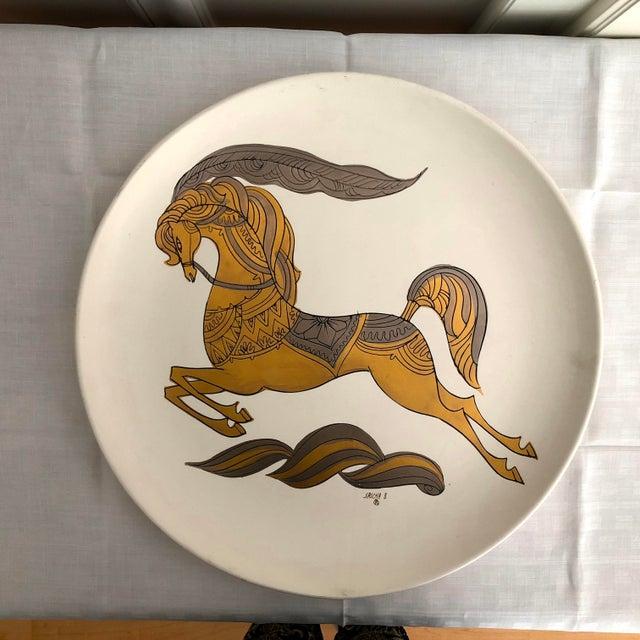 """Signed Sascha Brastoff Vintage Mid-Century 16"""" Gilded Enamel Charger For Sale - Image 11 of 11"""