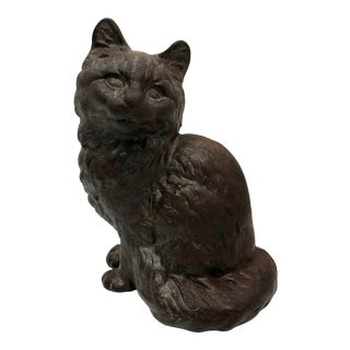 Early 1900s Hubley Cast Iron Persian Cat Doorstop For Sale