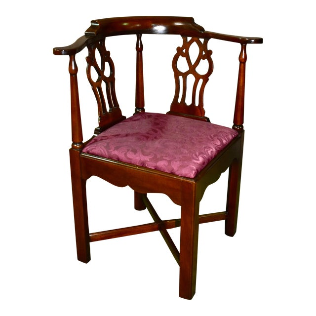 Vintage Chippendale Hickory Chair Solid Mahogany Style Corner Chair For Sale