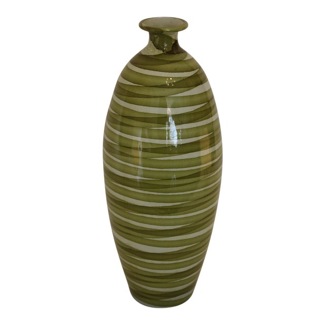Spanish Painted Green Swirl Pattern Ceramic Vase For Sale