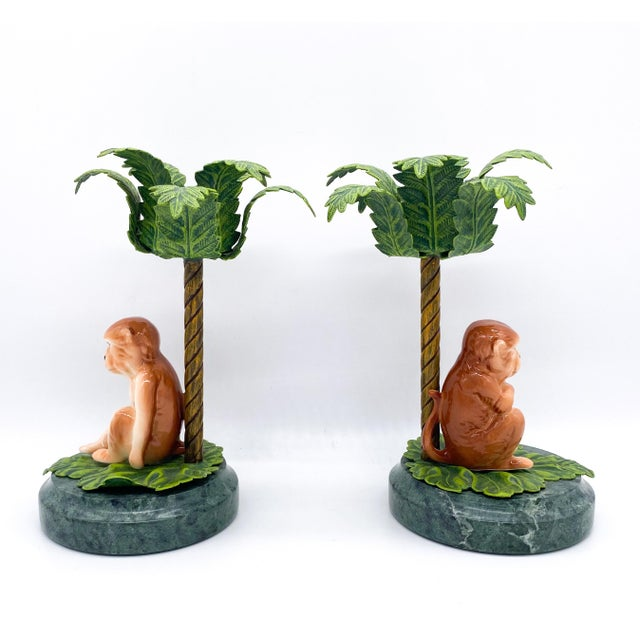 20th Century Hollywood Regency Monkey Palm Tree Tole, Ceramic and Marble Candlesticks- a Pair For Sale In Houston - Image 6 of 10