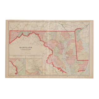 Cram's 1907 Map of Maryland For Sale