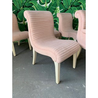 Set of Six Sculptural Pink Channel Back Tufted Dining Chairs Preview