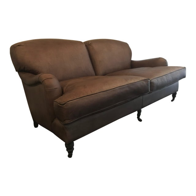 Traditional Two Seat Leather Sofa For Sale