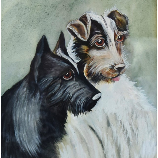 Boho Chic Midcentury Watercolor Painting of a Pair of Charming Dogs For Sale - Image 3 of 8