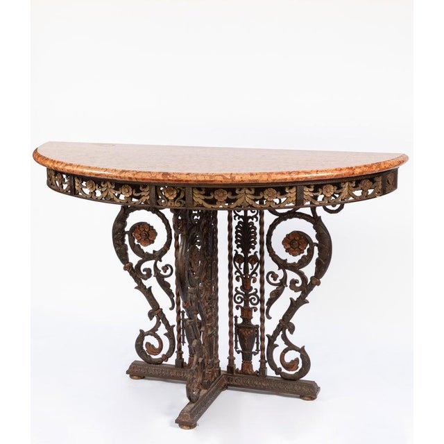 20th Century Italian Bronze and Iron Marble-Top Console For Sale - Image 4 of 8